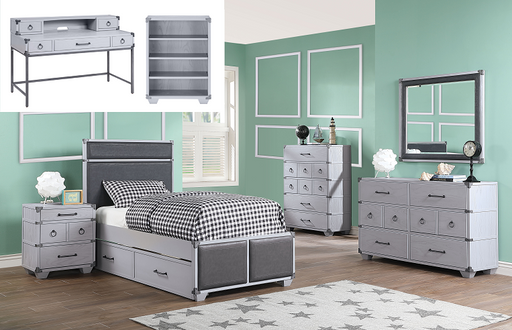 Orchest Gray PU & Gray Twin Bed image