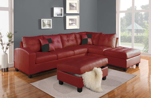 Kiva Red Bonded Leather Match Sectional Sofa w/2 Pillows image