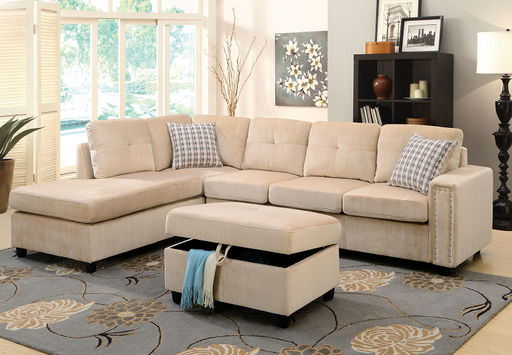 Belville Beige Velvet Sectional Sofa w/Pillows image