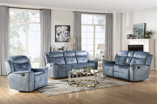 Mariana Silver Blue Fabric Sofa (Motion) image