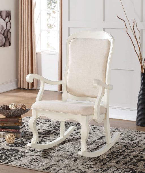 Sharan Fabric & Antique White Rocking Chair image
