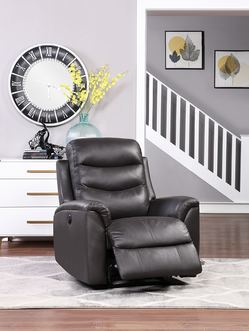 Ava Brown Top Grain Leather Match Recliner (Power Motion) image