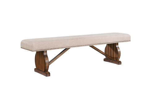 Maurice Khaki Linen & Antique Oak Bench image