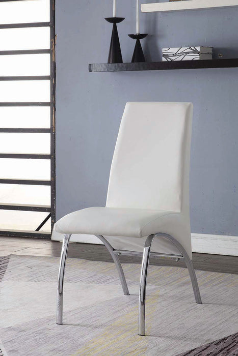 Pervis White PU & Chrome Side Chair image