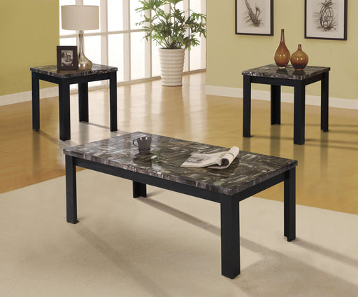 Carly Faux Marble & Black Coffee/End Table Set (3Pc Pk) image
