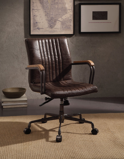 Joslin Distress Chocolate Top Grain Leather Office Chair image