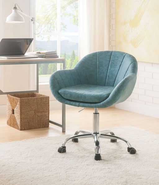 Giolla Vintage Turquoise PU & Chrome Office Chair image