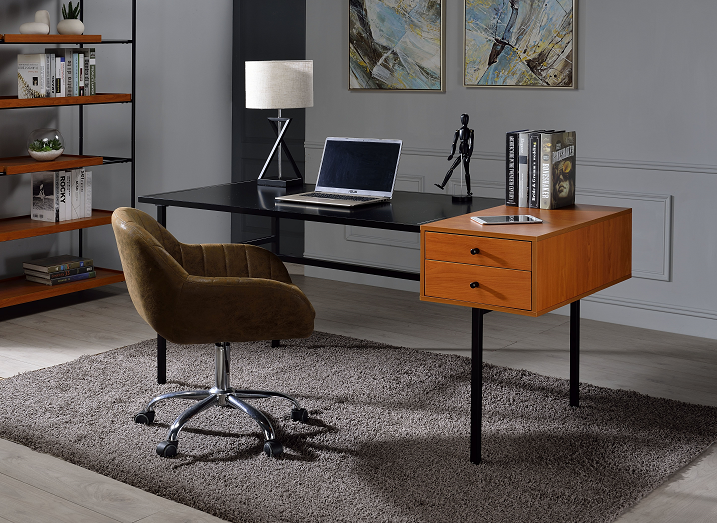 Oaken Honey Oak & Black Desk image