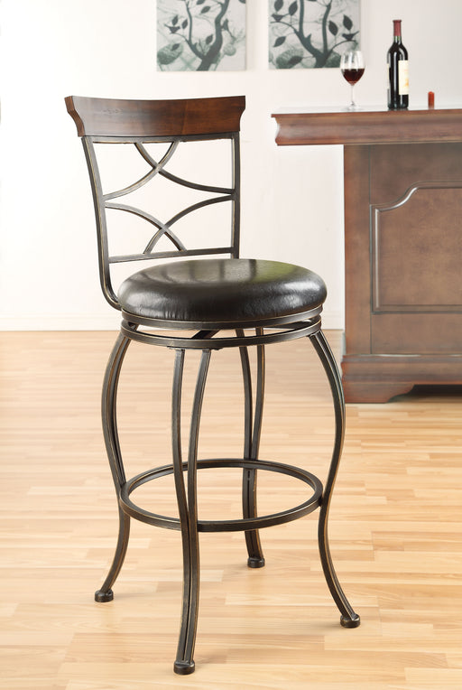 Tavio Espresso PU & Antique Bronze Bar Chair image