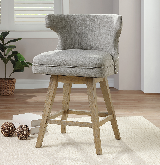 Everett Fabric & Oak Counter Height Chair image