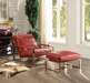 Quinto Antique Red Top Grain Leather & Stainless Steel Accent Chair image