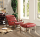 Quinto Antique Red Top Grain Leather & Stainless Steel Ottoman image