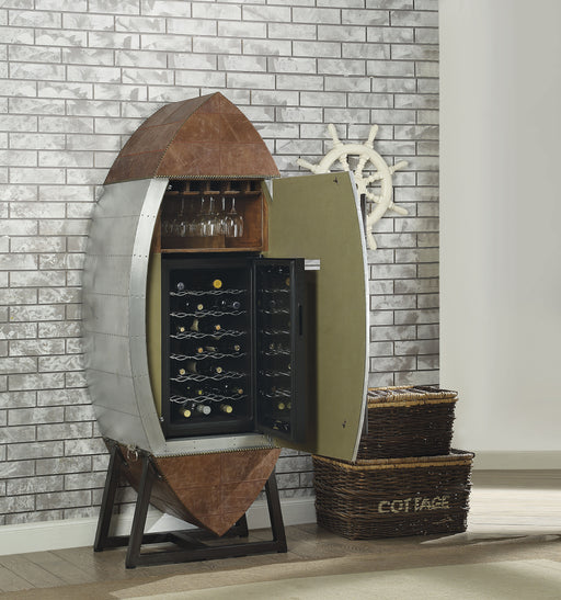 Brancaster Retro Brown Top Grain Leather & Aluminum Wine Cabinet & Cooler image