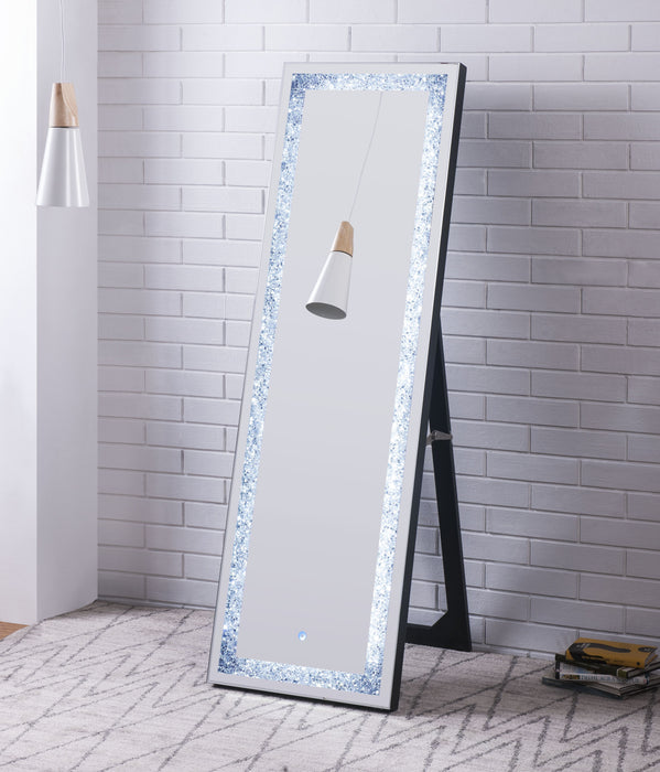 Noralie Mirrored & Faux Diamonds Floor Mirror (LED) image