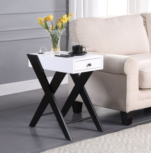 Fierce White & Black Side Table (USB Charging Dock) image