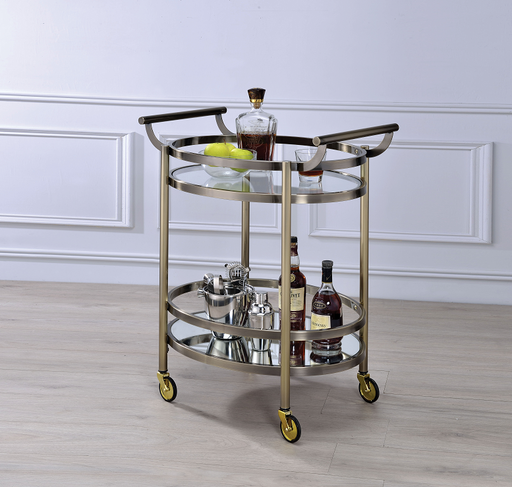 Lakelyn Brushed Bronze & Clear Glass Serving Cart image