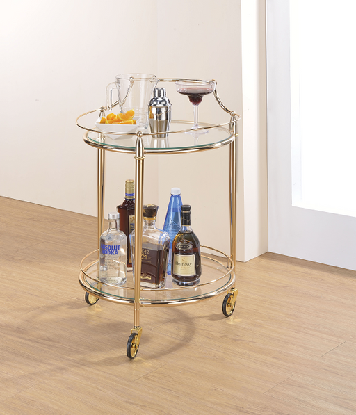 Macha Gold & Clear Glass Serving Cart image