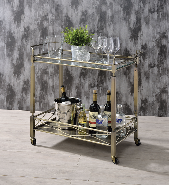 Matiesen Antique Gold & Clear Glass Serving Cart image