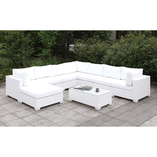 Somani White Wicker/White Cushion U-Sectional + Large Ottoman + End Table image