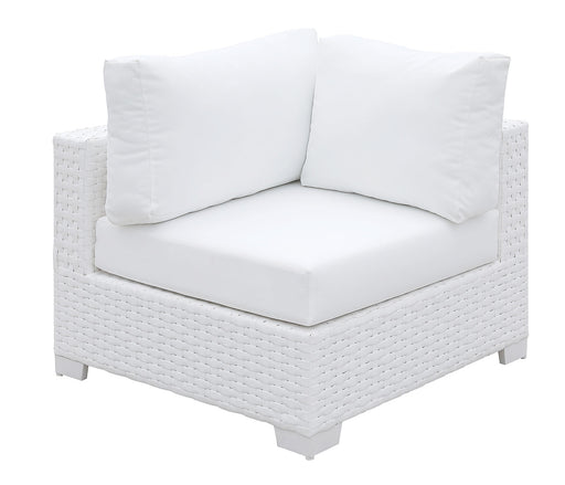 Somani White Wicker/White Cushion Corner Chair image