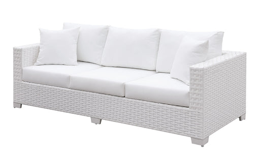 Somani White Wicker/White Cushion Bench image