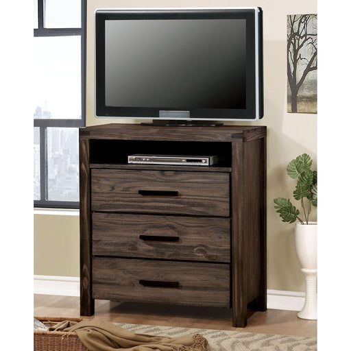 Rexburg Wire-Brushed Rustic Brown Media Chest image