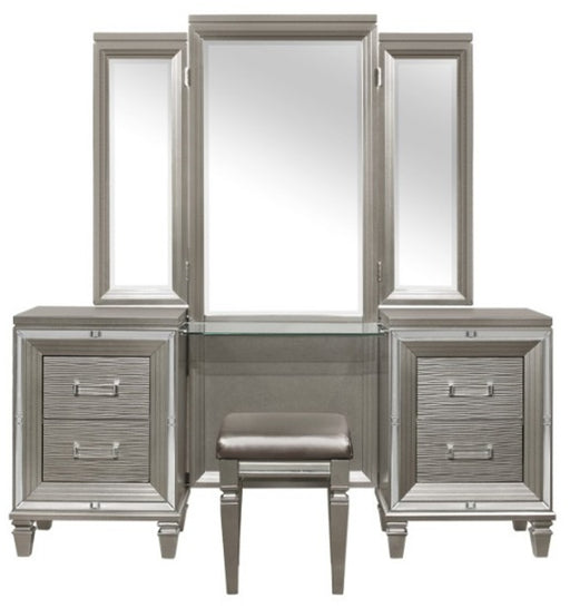 Homelegance Tamsin 3pcs Vanity Dresser with Mirror in Silver Grey Metallic 1616-15 image