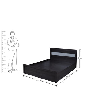 Brio Queen Size Bed with Storage in Charcoal & Belevedere Oak Colour