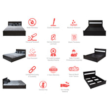 Load image into Gallery viewer, Brio Queen Size Bed with Storage in Charcoal & Belevedere Oak Colour