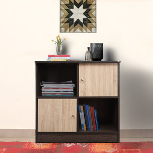 Duet-6014 Engineered Wood Bookcase - Dark Brown & Sonoma Oak