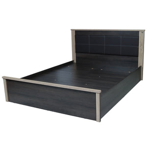Laurel Queen Size Bed with Storage In Charcoal & Sonoma Oak Colour