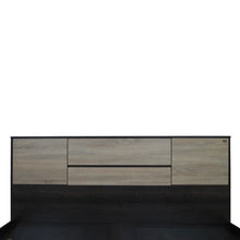 Load image into Gallery viewer, Vinicio Queen Size Bed with Headboard Storage In Charcoal & Sonoma Oak Colour