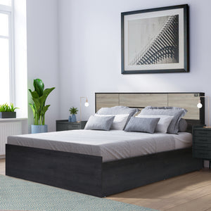 Vinicio Queen Size Bed with Headboard Storage In Charcoal & Sonoma Oak Colour
