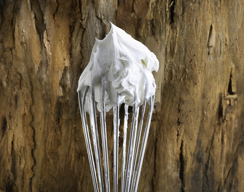 Image of a whisk with Aviela product on to show the light, whipped, creamy texture