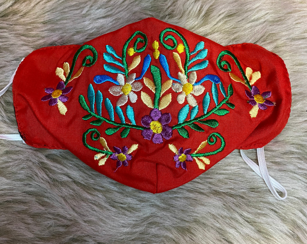 Red Embroidered Mask