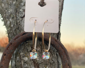 Crystal Iridescent Hoops