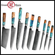 Load image into Gallery viewer, Grandsharp Damascus Kitchen Knives vg10 Japanese Stainless Steel Chef Santoku Cleaver Bread Utility Paring Boning Knife Cooking Tools