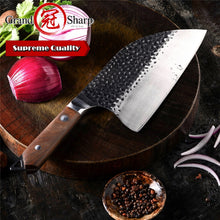 Load image into Gallery viewer, Grandsharp Handmade Forged 5cr15mov Steel Kitchen Knife 8 Inch Cleaver Knife Professional Butcher Knife Chef Knife Chopping Knives