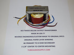 5E3 TWEED DELUXE OUTPUT TRANSFORMER, USA made, Paper Layer wound, '50's Specs