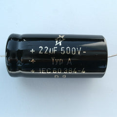 F&T 22uf@500V electrolytic cap, axial leads