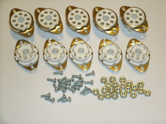 Octal ceramic sockets, TOP MOUNT set of 10 with mounting hardware