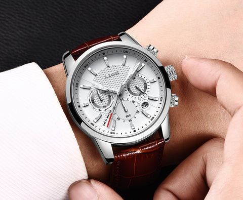 Zuringa Leather Strap Stainless Steel Chronograph.