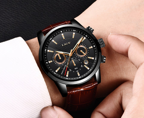 Zuringa Leather Strap Stainless Steel Watch.