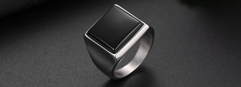 Zuringa Men's Polished Stainless Steel & Black Glass Ring.