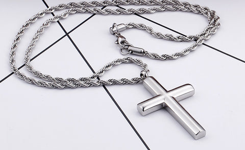 Zuringa Men's Simple highly polished stainless steel cross & rope chain necklace.