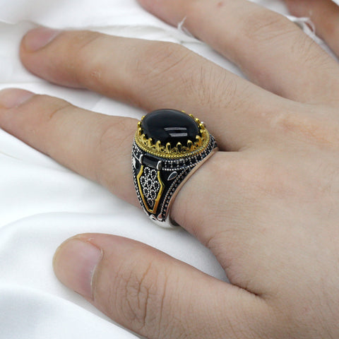 Zuringa hand crafted natural agate stone set in a sterling silver & brass crowned ring.