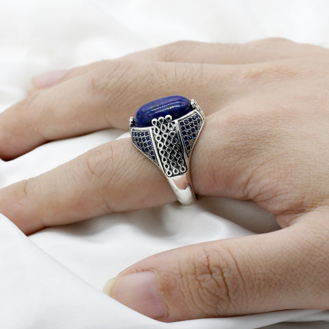 Zuringa hand crafted lapis lazuli & green, black & red agate sterling silver rings.