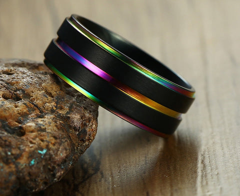 Zuringa Men's Stainless Steel Colorful Line Ring.