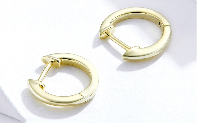 Zuringa Gold Colored Sterling Silver Minimalist Small Hoop Earrings