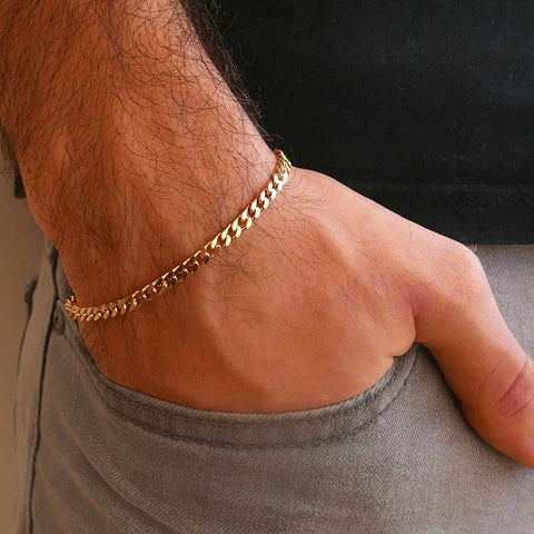 Zuringa Men's Stainless steel Cuban link wrist bands in gold, silver, vintage silver & black.